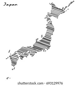 Hand drawn map of Japan sketch on white background.