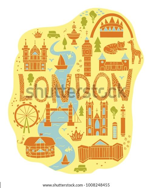 London Map Attractions.Hand Drawn Map London Cartoon Style Stock Vector Royalty Free