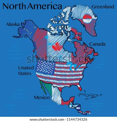 hand drawn map north america vector stock vector royalty free