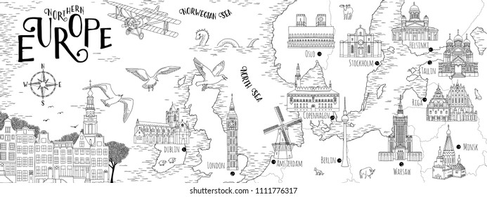 Hand drawn map of Northern Europe with selected capitals and landmarks, vintage web banner