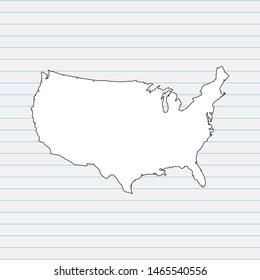 Hand drawn map of United States of America back school background. Vector Illustration EPS10.
