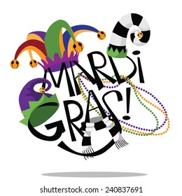 Hand drawn Mardi Gras type with hats and beads EPS 10 vector stock illustration