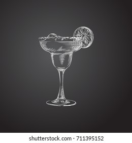 Hand Drawn Margarita Sketch Symbol. Vector Daiquiri Element In Trendy Style.