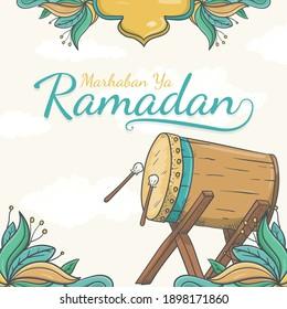 Hand drawn marhaban ya ramadan greeting card Background with Islamic Ornament