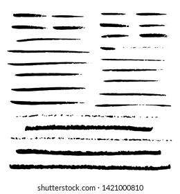 Hand drawn marker lines set. Doodle style underline strokes