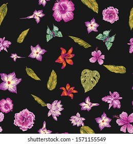Hand drawn marker seamless composition consisting of violet flowers hibiscus, lily, lotus, khaki leaves monstera and green butterflies. Repeating vector pattern exotic night wallpaper black background