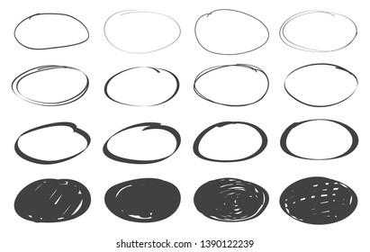 Hand drawn marker stains.Grunge round shapes.