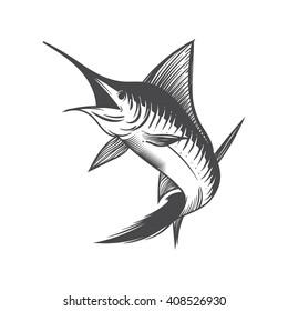 Hand Drawn Marlin fish jump