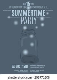 hand drawn mason jar background flyer template for a summer party vector