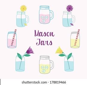 Hand Drawn Mason Jars