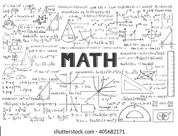 Hand drawn Math formulas for background