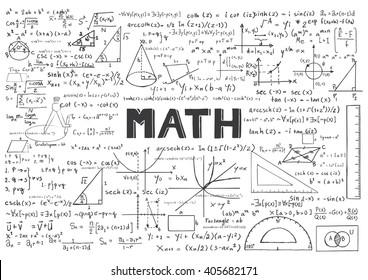 Hand drawn Math formulas for background