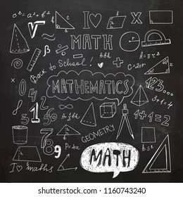 Hand Drawn Mathematical Doodle Handwriting Elements. School Education Background. Vector Illustration. Chalk Drawing