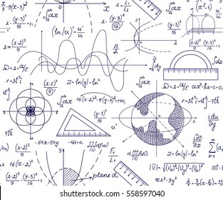 Hand drawn mathematical vector seamless pattern with handwritten algebra formulas, equations and geometry figures on white paper