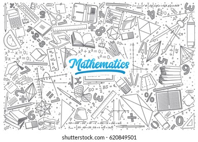 Hand drawn Mathematics doodle set background with blue lettering in vector