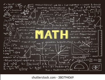 Hand drawn mathematics formulas on chalkboard for background, banner,book cover and etc. for education industry
