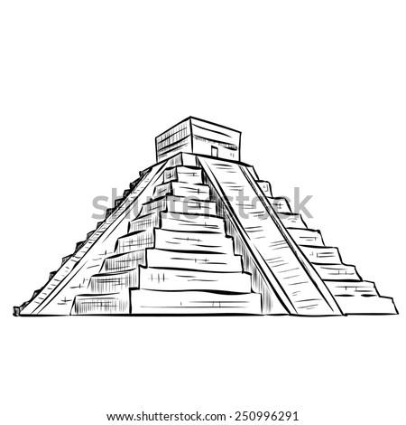 Hand Drawn Mayan Pyramid Stock Vector Royalty Free