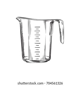 Hand Drawn Measuring Cup Sketch Symbol. Vector Measurement Element In Trendy Style.