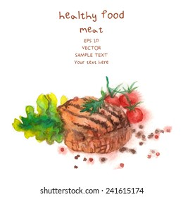 Hand Drawn Meat, watercolor-style Vector Illustration For Food Design.