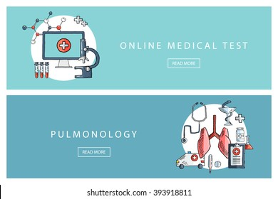 Hand drawn medical and healthcare concepts. Online medical test and Pulmonology. Banners for web design, marketing and promotion. Presentation templates.