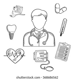 Hand drawn medical icons with a doctor surrounded by a thermometer, tooth, pills, medication, chart, heartbeat and ECG. Sketch style vector