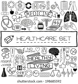Hand drawn medical set of icons with science tools, human organs, diagrams etc. Vector illustration.