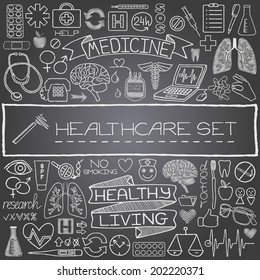 Hand drawn medical set of icons. Vector illustration.