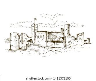 Hand drawn medieval castle, sketchy illustration.