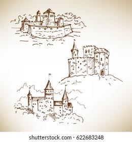 Hand drawn medieval castles sketch. Vector illustration.