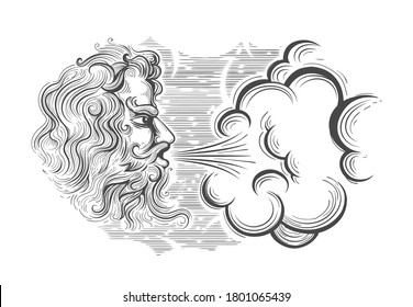 Hand drawn Medieval God of Wing Zephyrus in engraving style. Vector illustration.