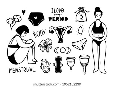 hand drawn menstrual set of design elements. Vector illustration. doodle period collection. women set with caps, Cotton, pads, panties, yoni egg, moon, lettering. Eco zero weste concept