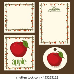 Hand Drawn Menu Pages, Card and Tag Design Set with Red Apples
