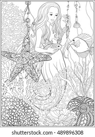 Hand drawn mermaid with gold fish in underwater world. Linen color vector illustration. Anti stress coloring book for adult and. Outline drawing coloring page.