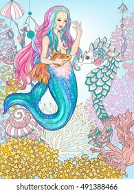 Hand drawn mermaid with gold fish in underwater world. Linen color vector illustration.