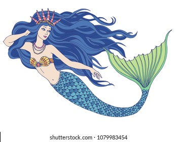 Hand drawn mermaid holding a flower, isolated on white background, linen vector illustration.