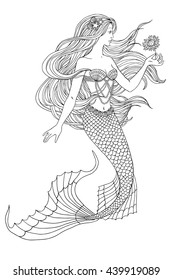 Hand drawn mermaid holding a flower, on white background, linen vector illustration for coloring book.