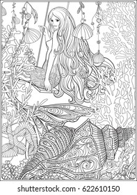 Hand drawn mermaid with long  hair in underwater world. Stock line vector illustration. Outline drawing. Outline hand drawing page for adult coloring book