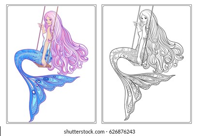 Hand drawn mermaid with long pink hair on swing. Stock line vector illustration. Outline drawing. Outline hand drawing coloring page for adult coloring book with coloured sample.