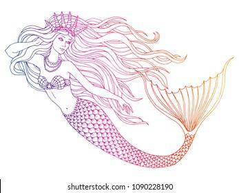 Hand drawn mermaid  on white background, linen vector illustration.