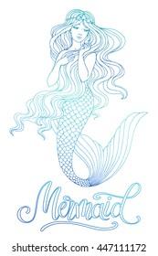 Hand drawn mermaid, on white background, linen vector illustration.