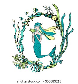 Hand drawn mermaid and seaweed frame. Vector illustration