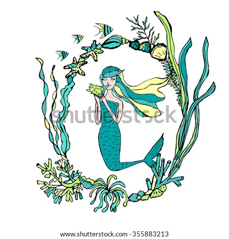 Hand Drawn Mermaid Seaweed Frame Vector Stock Vector (Royalty Free ...