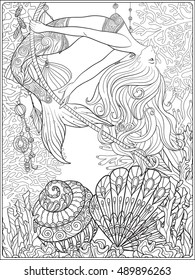 Hand drawn mermaid swinging on rope in underwater world. Linen color vector illustration. Anti stress coloring book for adult and. Outline drawing coloring page.