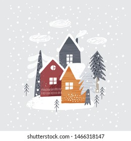 Hand drawn Merry Christmas print 2020. Vector print for Christmas cards with Hand drawn winter tree, house and texture.