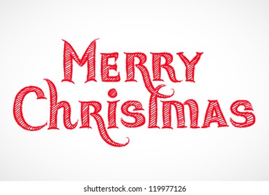 Hand drawn Merry Christmas signature isolated on white - vector illustration.