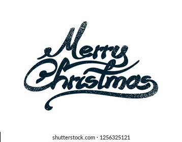 Hand drawn Merry Christmas text. Seasonal writing with unique calligraphy and snow scatters.