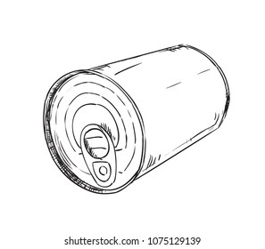 Hand drawn metal tin can isolated on white background. Sketch vector illustration of tin can with key