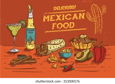 Hand drawn of Mexican food and drinks