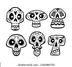 Hand drawn mexican skull collection. Cute cartoon sugar skulls isolated on white background. Set 2 of 2. Vector illustration.