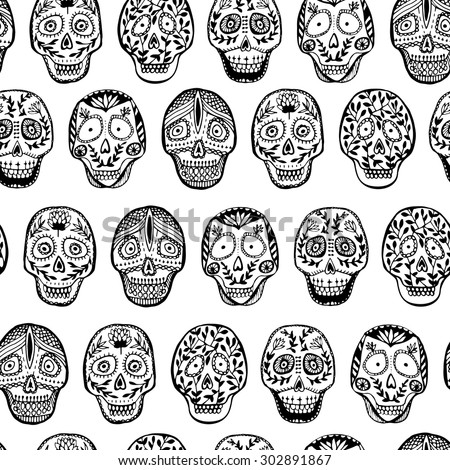 9e1461e9c40 Hand Drawn Mexican Skull Seamless Pattern Stock Vector (Royalty Free ...